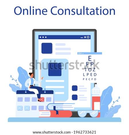 Oculist online service or platform. Idea of eye exam and treatment. Zdjęcia stock ©