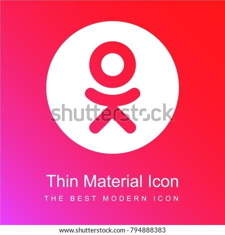 Odnoklassniki logo red and pink gradient material white icon minimal design