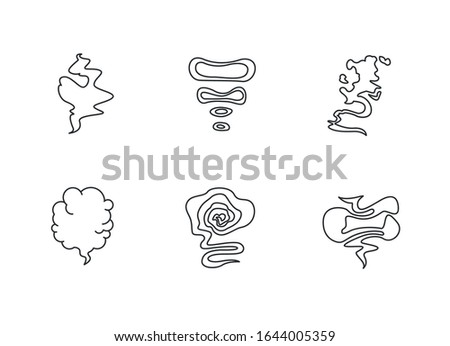 Odor pixel perfect linear icons set. Smell from hookah. Aroma from cannabis. Cigarette stream. Bad scent. Customizable thin line contour symbols. Isolated vector outline illustrations. Editable stroke