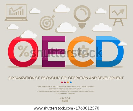 oecd mean (organization of economic co-operation and development) ,letters and icons,Vector illustration.