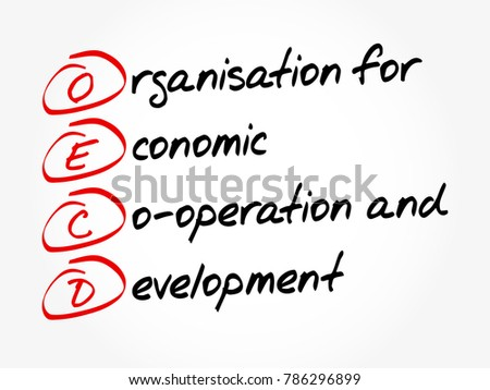 OECD - Organisation for Economic Co-operation and Development acronym, business concept background