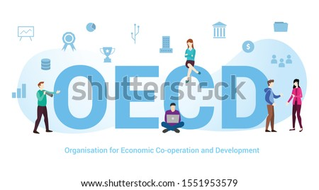 oecd organisation of economic co-operation and development concept with big word or text and team people with modern flat style - vector
