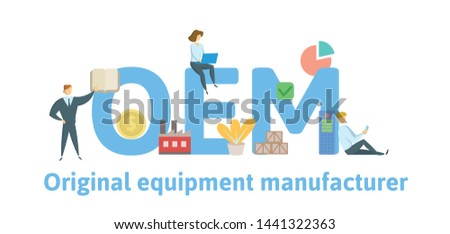 OEM, Original Equipment Manufacturing. Concept with keywords, letters and icons. Colored flat vector illustration. Isolated on white background.