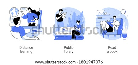 Off campus learning abstract concept vector illustration set. Distance learning, public library, read a book, off campus learning, tutoring and workshop, download e-book, homework abstract metaphor.