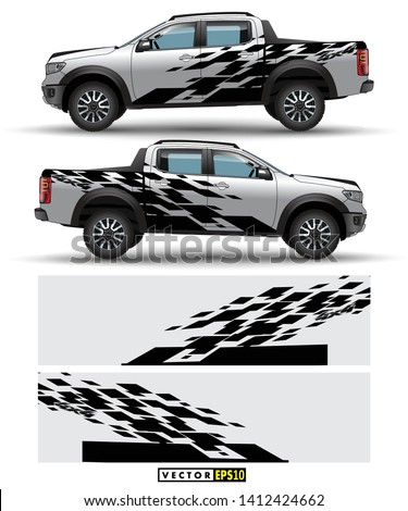 Off load truck 4 wheel drive and car graphic vector. abstract lines with gray background design for vehicle vinyl wrap