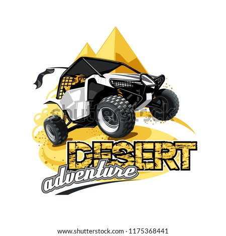 Off-Road ATV Buggy Logo, Desert adventure.