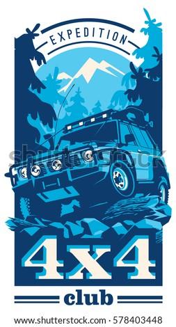 Off-road car logo, safari suv, expedition offroader.