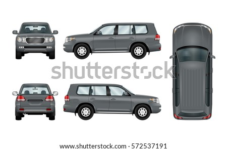 Off road car template. Vector isolated suv on white. Vehicle branding mockup. The ability to easily change the color. All sides in groups on separate layers. View from side, back, front and top.