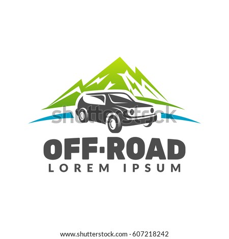 off road car with mountains