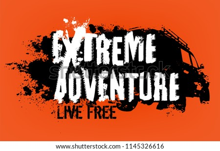 Off-Road EXTREME ADVENTURE hand drawn grunge lettering isolated on a bright orange background. Tire tracks words made from unique letters. Editable vector illustration in black and white color.