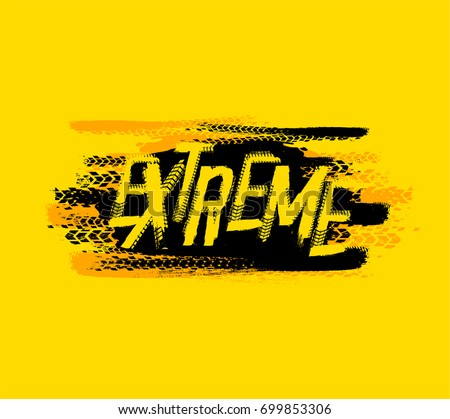 Off-Road extreme hand drawn grunge lettering on a textured background. Tire tracks words made from unique letters. Beautiful vector illustration. Editable graphic element in yellow and black colours.