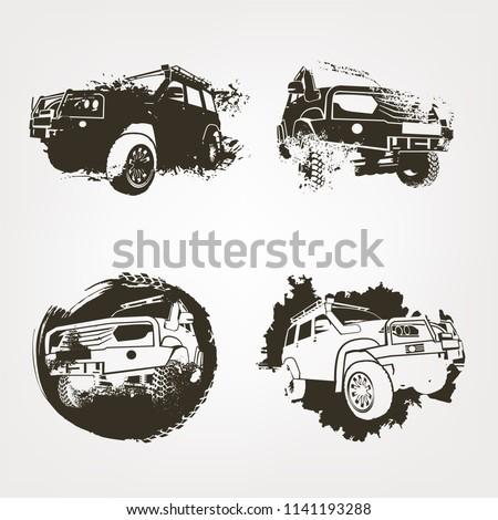 off road logo elements set