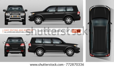 Off road truck vector mock-up for advertising, corporate identity. Isolated SUV car template. Vehicle branding mockup. All layers and groups well organized for easy editing and recolor.