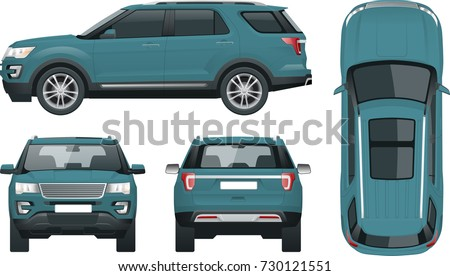Off-road write car Modern VIP transport. Offroad truck template vector isolated car on white View front, rear, side, top Change the color in one click All elements in groups