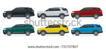 Off-road write car Modern VIP transport. Offroad truck template vector isolated car on white View side. Change the color in one click All elements in groups