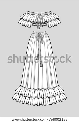 Off the shoulder crop top with ruffle neckline and short sleeves, elastic hem and neck. Maxi skirt with double ruffle hem, elastic smocked waist. Tasseled tie neck and waist. Technical sketch, vector.