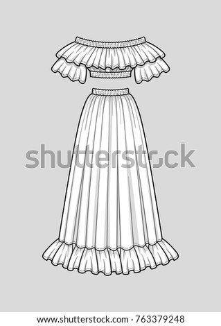 Off the shoulder smocked cropped top with ruffle neckline and short sleeves, elastic hem and neckline. Flared long skirt with ruffle hem, elastic smocked waist. Vector. Technical flat sketch.