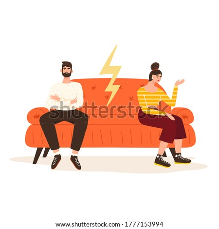 Offended woman and man sitting on different sides of the sofa. Misunderstanding in family, divorce concept. Crisis in a relationship, break up. Vector Illustration in flat style.   Stock photo ©