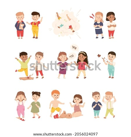 Offensive Kids Bullying and Abusing the Weak Agemate Teasing and Laughing at Them Vector Set Foto stock ©