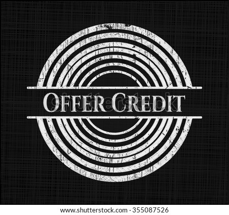 Offer Credit chalkboard emblem on black board