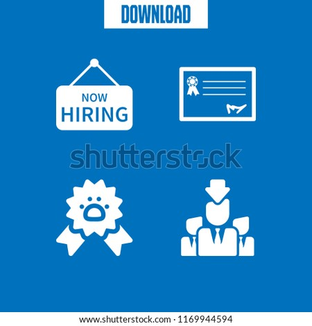 offer icon. 4 offer vector set. paw ribbon, worker seeking, hiring sign and rectangular certificate icons for web and design about offer theme