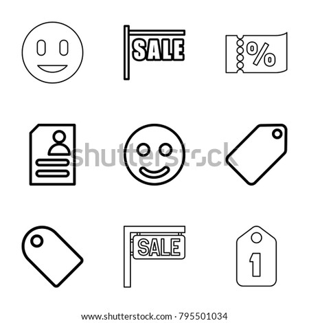 Offer icons. set of 9 editable outline offer icons such as tag, smile, sale, resume