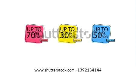 Offer tag set. Vector discount stickers. Collection stickers, price tags. Sale, free, new