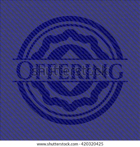 Offering badge with denim texture