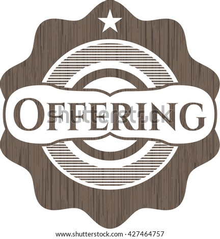 Offering retro wooden emblem