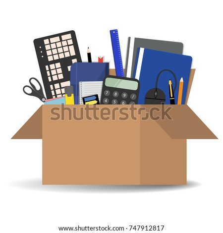 Office accessories in a cardboard box isolated on a white background. There is a keyboard, a calculator, folders, scissors, a ruler, a marker and other stationery in the picture. Vector illustration