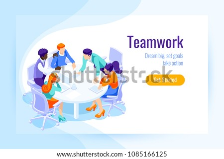 Office achieve goal, male display office landing page. Office situations for web banner, infographics, hero images. Flat isometric vector illustration isolated on generic background.