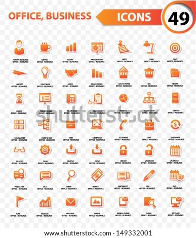 Office and business concept,Orange version,blank background,vector