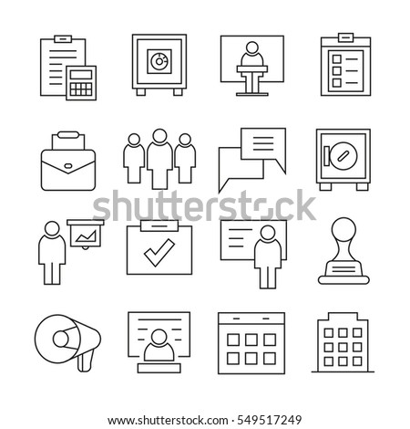 office and business icons outline on white background