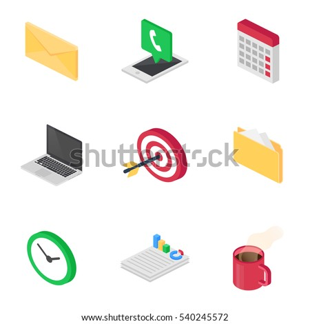 Office and business isometric icons set
