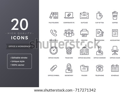 Office and business line icons.  Workspace and workplace thin icon set with editable stroke