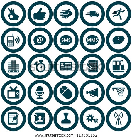 Office and communication icon set. Vector illustration.
