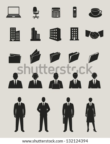 office and documents, business people and buildings icons set