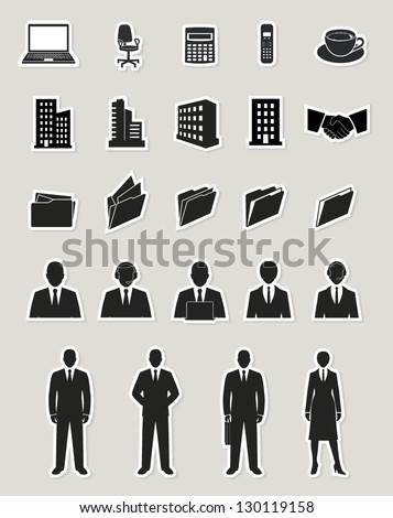 office and documents, business people and buildings icons set. paper stickers