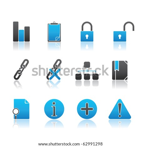 Office and Internet icon set13 � Blue Series.  Vector EPS 8 format, easy to edit.