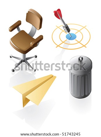 Office and leisure icons. Vector illustration.