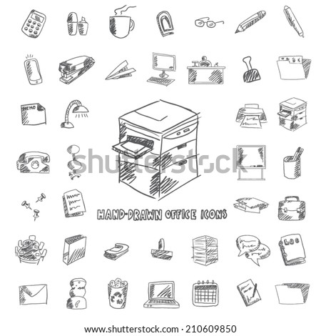 office and organization hand drawn icon set