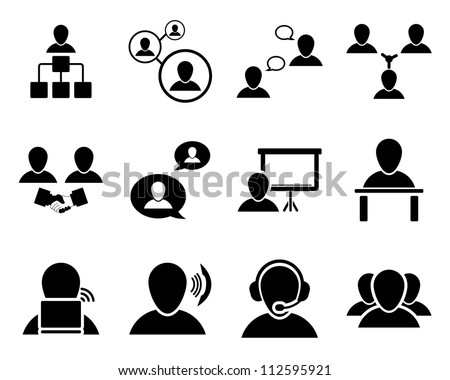 Office and people icon set. Vector illustration. - stock vector