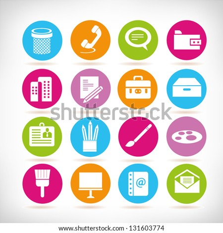 office and stationery icon set