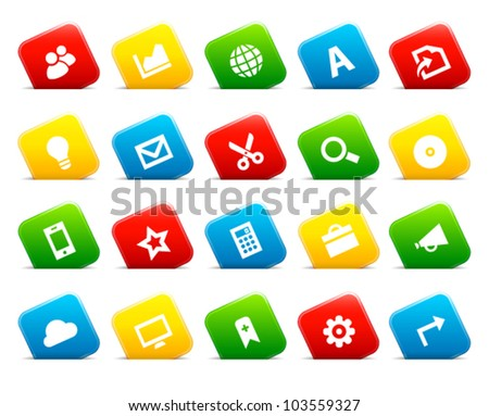 Office and web icons on colored cut square buttons, set 3. Image contains transparency - you can put it on every surface. 10 EPS