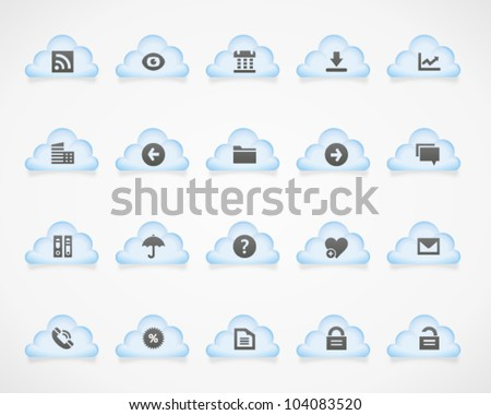Office and web icons on light clouds, set 1. Image contains transparency - you can put it on every surface. 10 EPS - stock vector