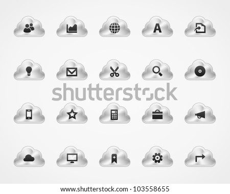 Office and web icons on metallic cloud buttons, set 3