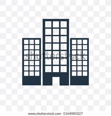 Office block vector icon isolated on transparent background, Office block logo concept