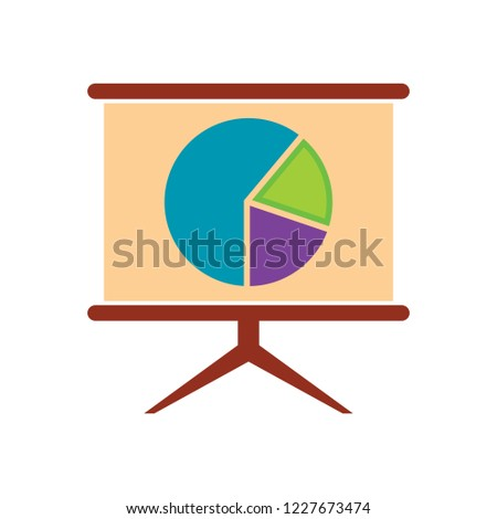 Office board with charts and diagrams vector illustration tripod isolated on white background. Drawn graphs, business infochart presentation billboard