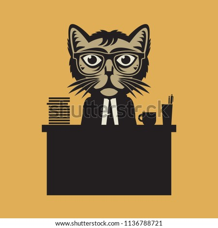 Office Boss Cat sign or symbol, vector illustration