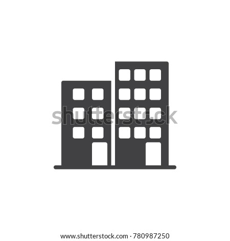 Office building icon vector, filled flat sign, solid pictogram isolated on white. Business center symbol, logo illustration